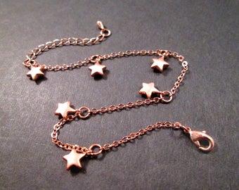Rose Gold Charm Bracelet, Seeing STARS, Beaded Chain Bracelet or Anklet, FREE Shipping U.S.