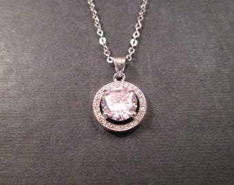 Cubic Zirconia Necklace, White Crystal Pendant, Silver Chain Necklace, FREE Shipping U.S.