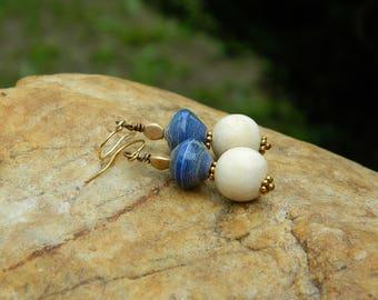Paper Bead and Wood(Jackfruit) Bead Earrings