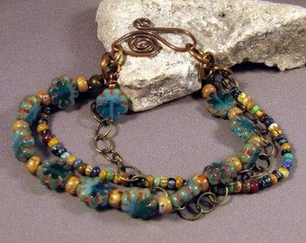 Bohemian Bracelet by Monaslampwork - Aqua Flowers Czech Beads Picasso Seed Beads Handmade Copper Clasp Brass Chain Bracelet by Mona Sullivan