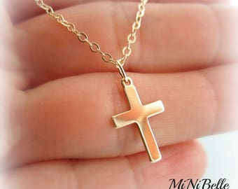Gold Cross Charm Necklace. Religious Cross Necklace. Baptism. First Communion. Christening