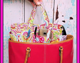 Purse Insert, Bag Organizer, Tote, Handmade Boutique Gift, Summer, designer fabric tote, OOAK Ready to Ship 10x3.5x6