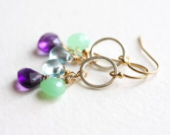 Gemstone cluster earrings - amethyst, chrysoprase & sky blue topaz mixed metal earrings - silver and gold dangle earrings