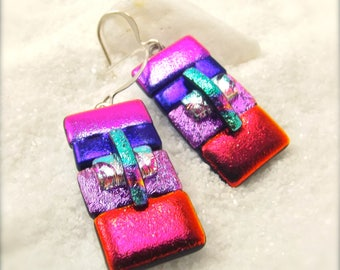 Fused dichroic glass jewelry, dichroic glass earrings, glass fusion, fused glass art, dichroic jewelry, earrings handmade, trending now