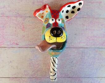 Handmade Ceramic Dog mask wall hanging Leash Holder Hook, Ceramic Dog, Dog Mask, Ceramic Dog Mask,  by Dottie Dracos, 61172