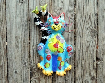 Cats, Sitting Cat, Ceramic Wall Hanging, 2 birds on Tail, Handmade by Dottie Dracos, Cat Wall Hanging, Cat Sculpture, Cat & Birds, 616172