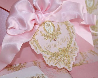 Tags, Favors, Gift Tags, Marie Antoinette Silhouette Pink Die Cut Gift Tags A Set of 8