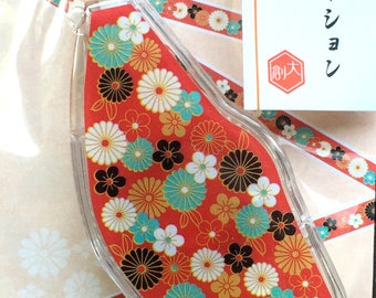 Flower Deco Tape - Flower Sticker Tape - Plum Blossoms and Chrysanthemum - Decoration Tape - Japanese Tape 5mm x 6m - 0.2 inch x 19.7 ft
