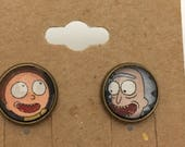 Recycled Comic Book inspired earrings Rick and Morty