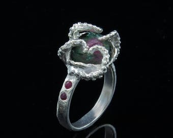 SALE Sale - Ready to ship! Octopus ring, octopus tentacle, tentacle ring, size 7- Watermelon Tourmaline One of a Kind, Size 7.