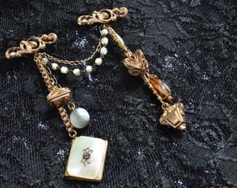 Chatelaine 2 Base Pins,Charms,3 gold filled Watch Fobs,Brooch Scatter Pin ,Mother of Pearl Locket,Glass Gray Agate Ball,Glass Banded Agate