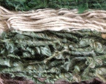 Four mini skeins, greens, handspun miniskein texture pack yarn, 40 yards, art yarn set, weaving yarn set, textured yarn, funky yarn