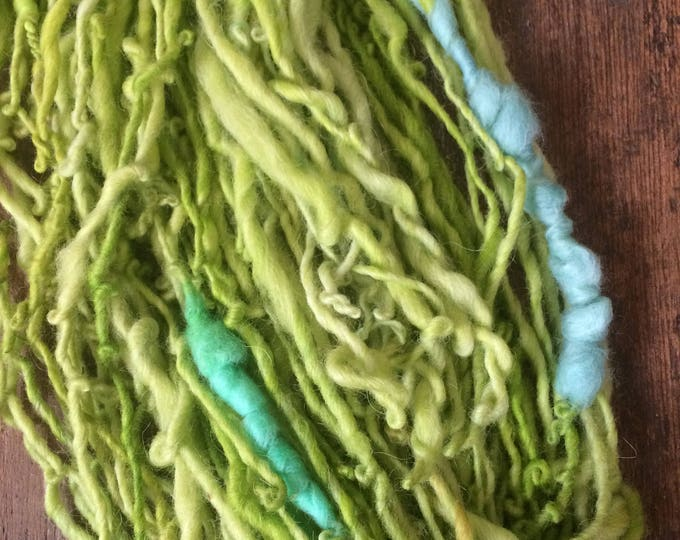 Uptown Girl, handspun art yarn, 88 yards, beehive yarn, slubby yarn