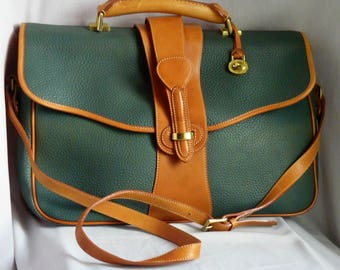 Vintage Green Tan Dooney Bourke Briefcase Shoulder Bag / Leather Large size / AWL Cross Body