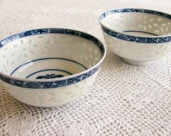 Vintage Porcelain Rice Bowls   Set of 2  Blue & White Chinese Dining Decor