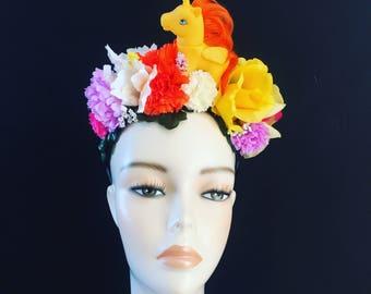 Flower Floral My Little Pony unicorn yellow Head Dress Head Band Festival