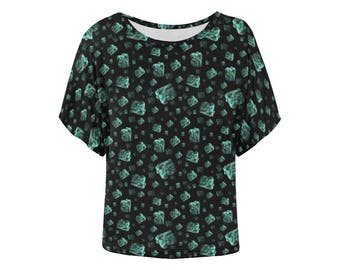 Turquoise chunks batwing top loose fit tshirt turquoise and black unusual altclothing crystal size XS S M L XL 2XL 3XL