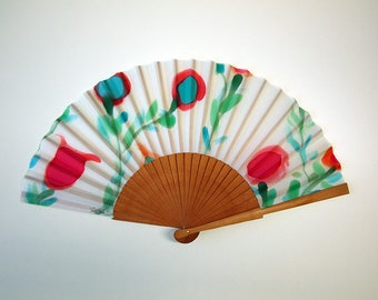 Hand fan Handpainted Silk- Abanico-Wedding gift-Giveaways-Bridesmaids- Spanish hand fan - Blue-Green Hand Fan 17 x 9 inches (43 cm x 23 cm)