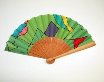 Handpainted Silk hand fan- Wedding hand fan-Abanico- Giveaways-Bridesmaids- Spanish hand fan-Green 14 x 7.5 inches (35 cm x 19 cm)