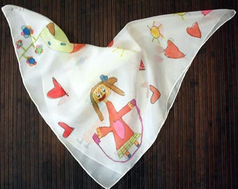 Hand painted Silk Mini- Drawings of children silk scarflette- Style Naïf Hand painted Silk scarf-Silk mini-scarf - Woman scarf  21.5x21.5