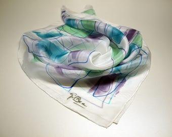 Hand painted Silk Mini- Silk scarflette- Woman scarf  27.5x27.5 (70x70 cm)