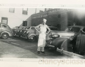 vintage photo 1939 Baker Stands in Parking Lot behind his Bakery