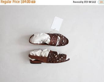25% OFF SALE braided leather flats | woven leather sandals | size 7.5 sandals