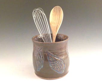 Ceramic Utensil Crock - Stoneware Wine Bottle Chiller - Handmade Kitchen Accessory - Carved - Ready to Ship - Iron Lustre with Blue  v617