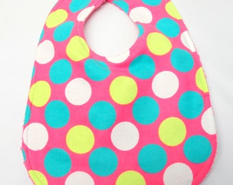 Baby Girl Bib, Baby Shower Gift, Welcome Baby Gift. New Mom Gift: Large Polka Dots on Pink