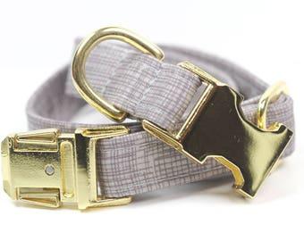 Brass Dog Collar in Crosshatch -  Aristocrat