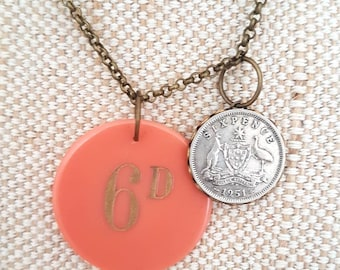Sixpence poker chip and coin necklace / bronze tone necklace/peach poker chip charm / coin charm / vintage coin and poker chip
