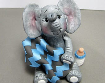 Baby Elephant polymer clay Baby Shower Cake Topper decoration Made To Order