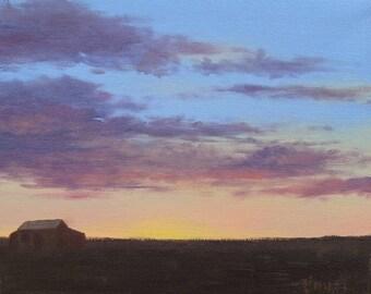 Sunset on the prairie, Landscape painting, Original art, Cloud painting, Impressionism, Foust