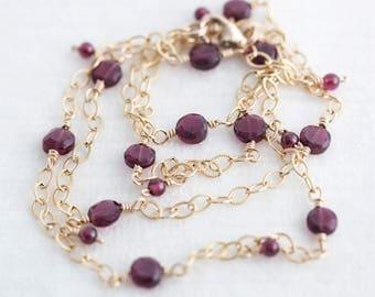 "Garnet Gold Necklace 21"" Gold-Fill Chain"