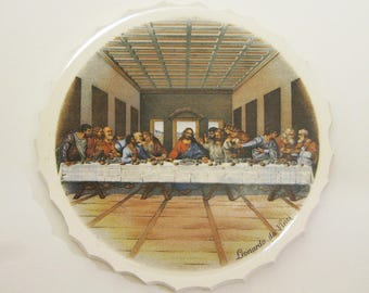 Mosaic Large Focal Art Tile The Last Supper Leonardo Da Vinci Artist Vintage 1950 Broken China Tessarae