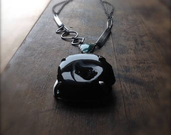 Reflection of the Light - Turquoise and Black Crystalized Druzy Necklace