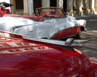 Vintage cars photograph Cuban antique automobiles red and white hood ornaments reflections Havana city scene wall decor original art
