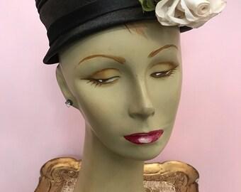 1950s hat vintage hat black hat miss lynn hat with rose rockabilly hat vintage millinery 50s hat mad men hat