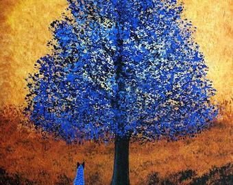 Australian Cattle Blue Heeler Dog folk art print by Todd Young BLUE TREE