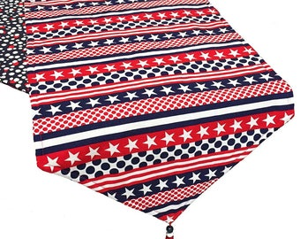 Patriotic Table Runner, 4th of July Table Runner, Stars and Stripes Table Runner with Dots