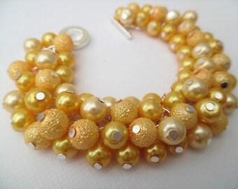 Yellow Pearl Bracelet, Cluster Bracelet, Chunky Bracelet, Yellow Jewelry, Banana Yellow Bracelet, Lemon Bracelet Gift For Her, Ready to Ship