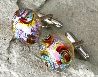 Fused Glass Cufflinks ..Circular Button Cabochons - Silver Tone T-Bar Fittings - Gift Boxed