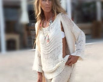 cream Loose knit sweater tank, loose knit Cotton Sweater, Made to order,
