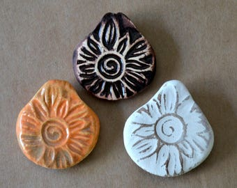 3 Handmade Ceramic Pendants - Pinch top Sunburst Beads in Rustic Glazes - Orange, Neutral, and Brown Primitive Pendants - Summer Festival