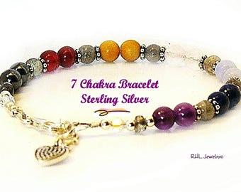 Seven Chakra Bracelet Gemstone Bracelet and Sterling Silver Heart Charm - B2013-23A