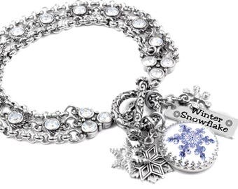 Snowflake Jewelry, Winter Jewelry, Snowflake Bracelet, Winter Charm Bracelet, Sterling Silver Setting, Photo of Real Snowflake