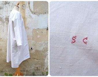 Vintage Antique 1900 /1910 Edwardian pure  linen  shirt / nightgown  monogram S.C size free