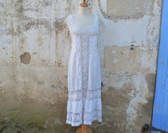 Vintage Antique French 1900 Edwardian handmade lace & white cotton dress /underdress /nightgown size S/M