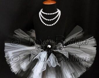 "SUMMER SALE 20% OFF Black and White Tutu - Harmony Tutu - Custom Sewn 8"" Tutu - sizes Newborn to 5T"