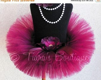 SUMMER SALE 20% OFF Sweet Cranberry - Custom Sewn Tutu - Up to 6'' length - sizes Newborn to 5T